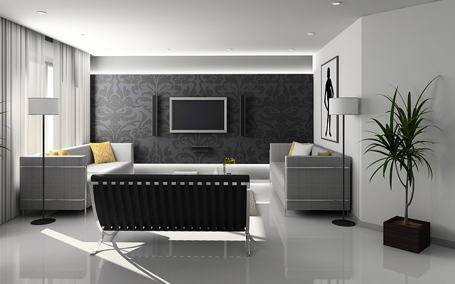 lesklá podlaha v obýváku